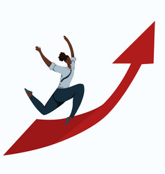 flat a running african business woman on up vector image