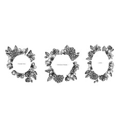 Floral frames with black and white hibiscus plum vector
