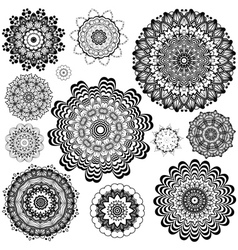 Flower ornament black and white7 vector