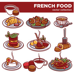 french cuisine food dishes for restaurant menu vector image