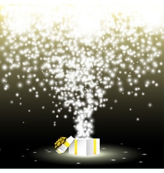gift box with fireworks from lights vector image