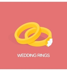 Golden ring and ring with big shiny diamond vector