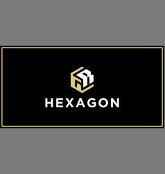 Gr hexagon logo design inspiration vector