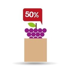grape bag filled fruit offer design vector image