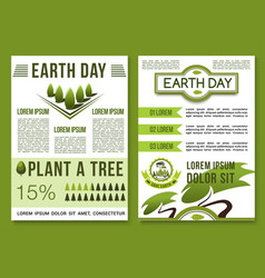 Green nature posters for earth day vector