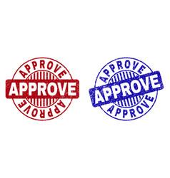 Grunge approve textured round watermarks vector