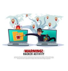 Hacker activity cartoon horizontal vector