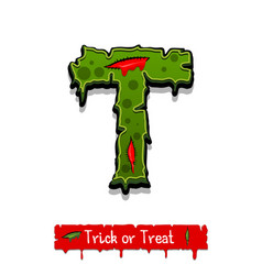halloween green color comic horror zombie font vector image