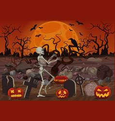 Halloween skeleton walking near vector