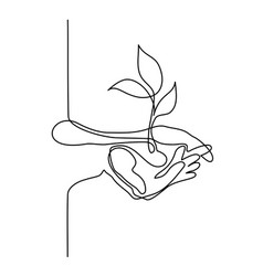 Hands palms together with growth plant vector