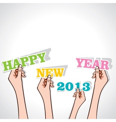 Happy new year 2013 in hand vector