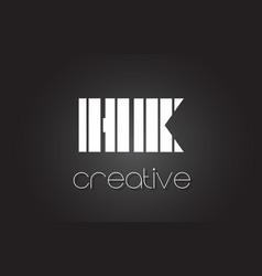 hk h k letter logo design with white and black vector image