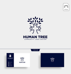 human tree leaf community logo template icon vector image