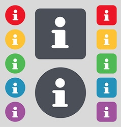 Information Info icon sign A set of 12 colored vector image