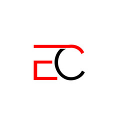 initial letter ec logo template design vector image