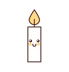 kawaii christmas candle cute decoration cartoon vector image