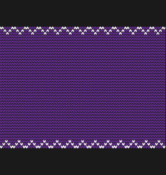 Knitted violet background with white zig zag vector