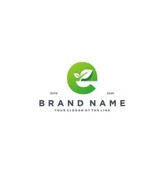 Leaf letter e logo design vector