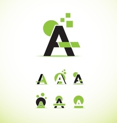 Letter A logo icon set vector image
