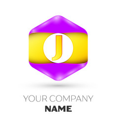 Letter j logo symbol in colorful hexagonal vector