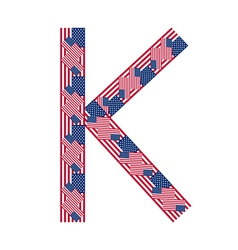 Letter k made usa flags vector