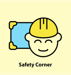 Line icon of safety corner vector