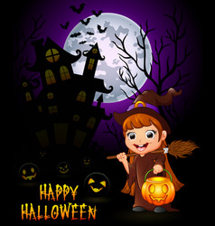 little witch cartoon holding broom and pumpkin on vector image