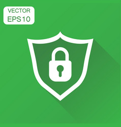 Lock with shield security icon business concept vector