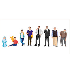 Man aging characters in different ages vector