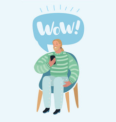 man talking on a mobile sitting on a chair with vector image