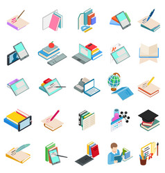 Modern education icons set isometric style vector