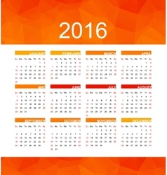 orange calendar 2016 vector image