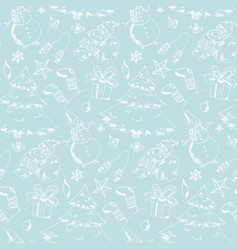 pattern with cute hand drawn christmas elements vector image