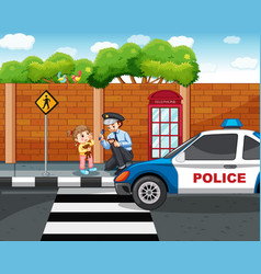 policeman and lost girl in city vector image