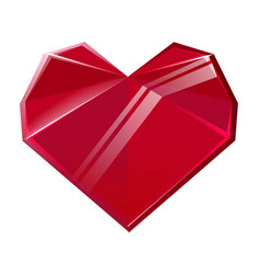 Polygonal red crystal heart isolated on white vector