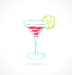 Red cocktail with lime Ink vector