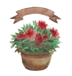Red flower in a flowerpot beige ribbon set on vector