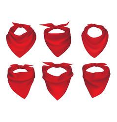 Red neck scarves bandanas and neckerchiefs vector