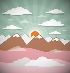 Retro flat design nature landscape with sun hills vector