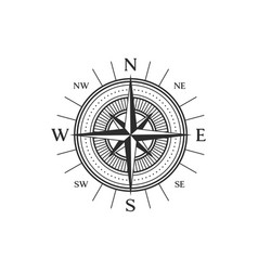 rose wind isolated windrose compass icon vector image