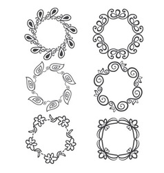 rounded ornaments with floral elements vector image