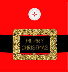 santa claus coat with button and gold glitter vector image