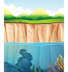 Scene with underwater and cliff vector