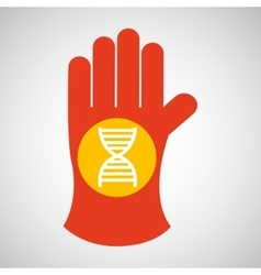 Sciencie glove and dna structure icon vector