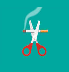scissors cut a cigarettes vector image