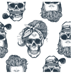 Seamless pattern in pop art style with skeleton vector