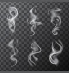 Set delicate realistic cigarette smoke waves vector