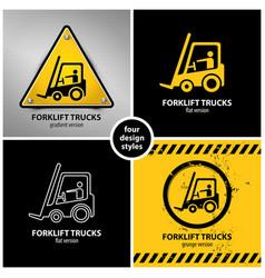 Set forklift truck warning symbols vector