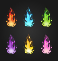 Set magic fire in different colors vector image