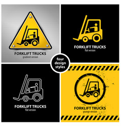 set of forklift truck warning symbols vector image